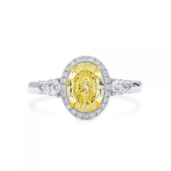Fancy Light Brownish Yellow Diamond Ring, 1.51 Ct. (1.93 Ct. TW), Oval shape, GIA Certified, 5181444051