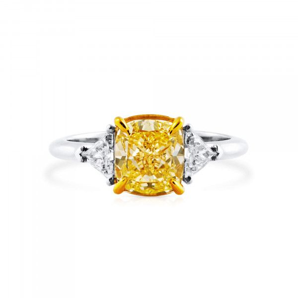Fancy Light Yellow Diamond Ring, 2.37 Ct. (2.77 Ct. TW), Cushion shape, GIA Certified, 2211646077