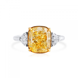 Light Yellow (W-X) Diamond Ring, 5.01 Ct. (5.67 Ct. TW), Cushion shape, GIA Certified, 5212730903