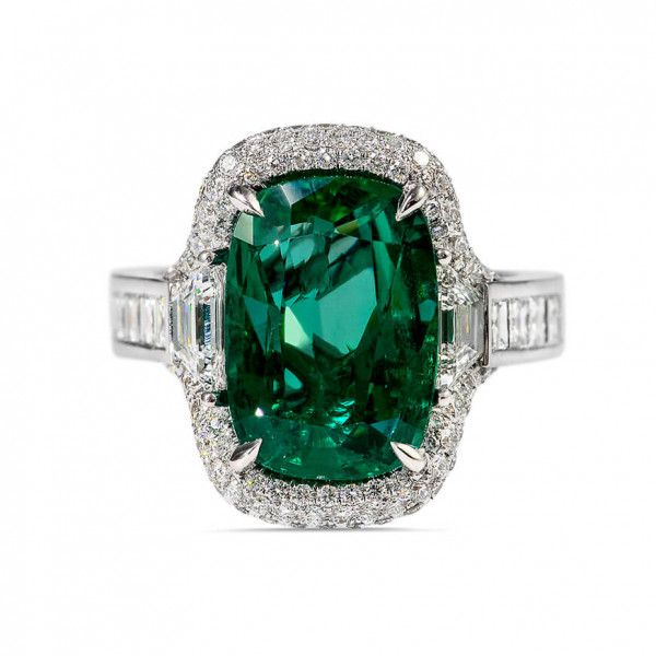 Natural Green Zambia Emerald Ring, 5.81 Ct. TW, GRS Certified, GRS2016-111478, Unheated