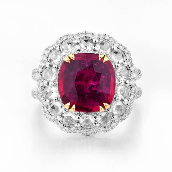 Natural Vivid Red Mozambique Ruby Ring, 3.03 Ct. (5.00 Ct. TW), GRS Certified, GRS2016-042732, Unheated