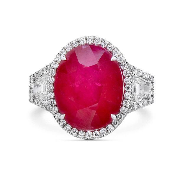 Natural Red Ruby Ring, 13.20 Ct. (14.50 Ct. TW), GRS Certified, GRS2016-027184, Unheated