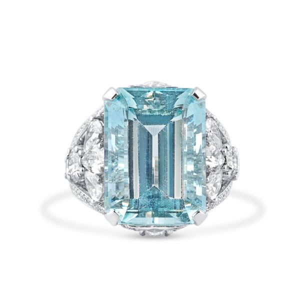 Natural Blue Aquamarine Ring, 14.25 Ct. (19.06 Ct. TW), IGL Certified, J90652116IL, Unheated
