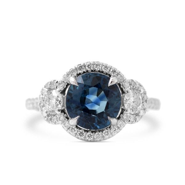 Natural Blue Sapphire Ring, 3.33 Ct. (3.88 Ct. TW), Unheated