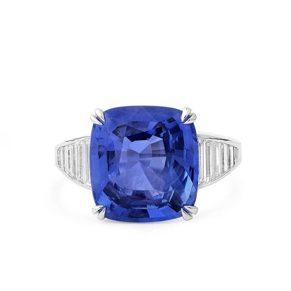 Natural Blue Sapphire Ring, 10.01 Ct. (10.97 Ct. TW), GRS Certified, GRS2015-081351, Unheated