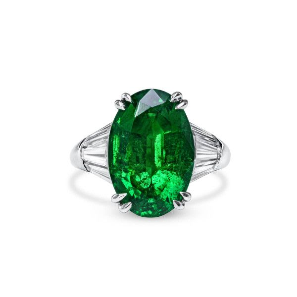 Natural Vivid Green Zambia Emerald Ring, 5.05 Ct. (6.65 Ct. TW), GRS Certified, GRS2019-118411