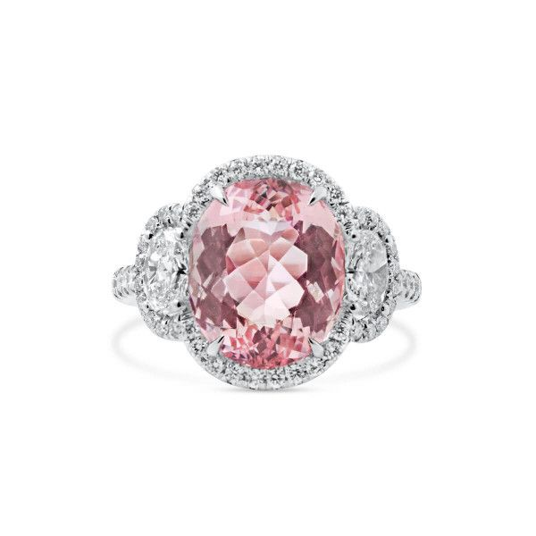Natural Pink Morganite Ring, 5.82 Ct. (7.12 Ct. TW), IGL Certified, J37932936IL, Unheated