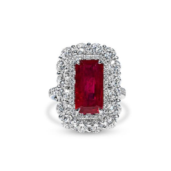 Natural Red Ruby Ring, 5.03 Ct. (8.14 Ct. TW), GRS Certified, GRS2010-050133T, Heated
