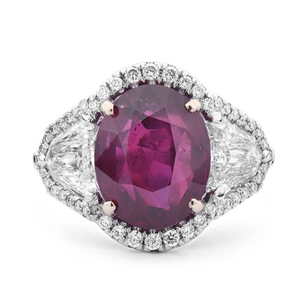 Natural Red Mozambique Ruby Ring, 8.18 Ct. (9.68 Ct. TW), GUBELIN Certified, 18011168, Unheated