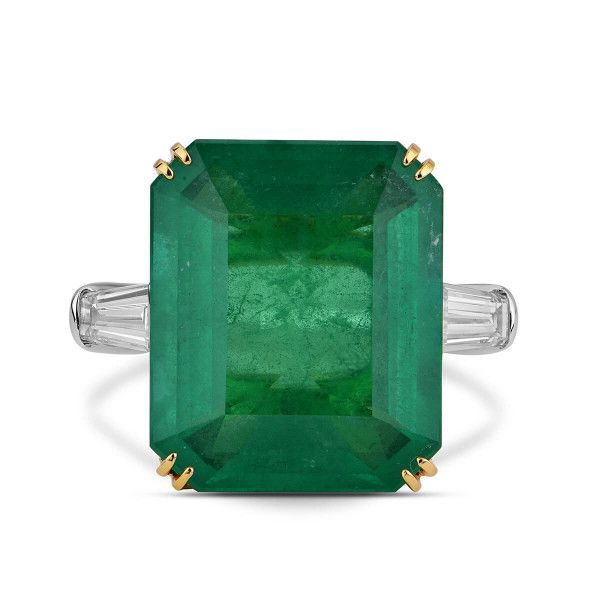 Natural Green Brazillian Emerald Ring, 14.11 Ct. TW, GRS Certified, GRS2018-028816, Unheated