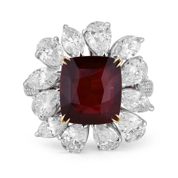 Natural Vivid Deep Red Ruby Ring, 8.28 Ct. TW, GRS Certified, GRS2018-039571, Unheated