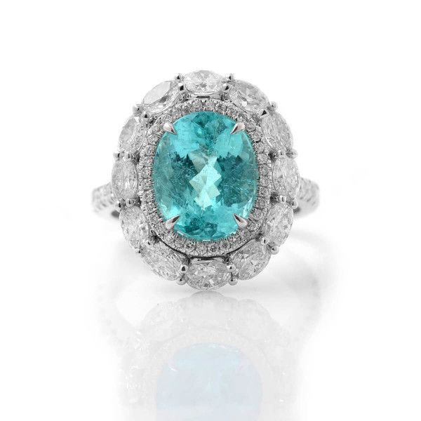 Natural GB Mozambique Tourmaline Ring, 3.60 Ct. (5.85 Ct. TW), GRS Certified, GRS2018-058315, Unheated