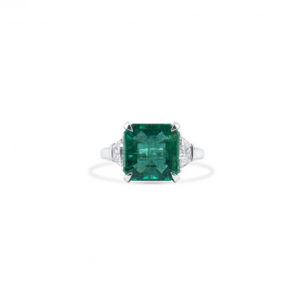 Natural Vivid Green Emerald Ring, 4.81 Ct. (5.51 Ct. TW), GRS Certified, GRS2018-058321