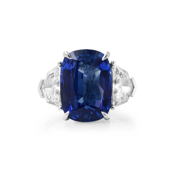 Natural Blue Sapphire Ring, 9.53 Ct. (10.86 Ct. TW), GRS Certified, GRS2018-050475, Unheated