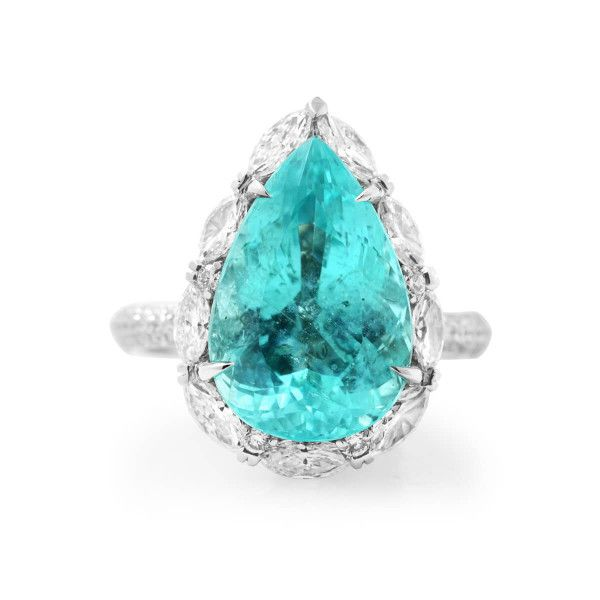 Natural Greenish-Blue Mozambique Tourmaline Ring, 7.38 Ct. (9.23 Ct. TW), GRS Certified, GRS2018-058316, Unheated