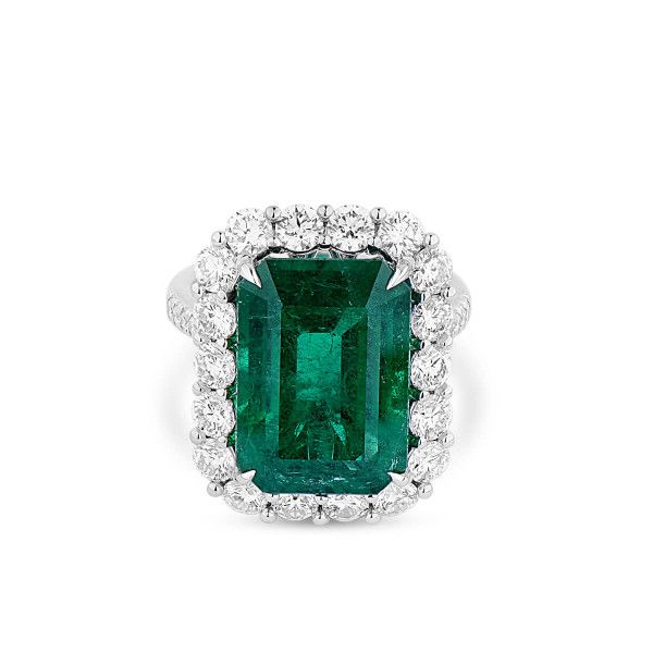 Natural Vivid Green Emerald Ring, 11.04 Ct. (13.25 Ct. TW), GRS LAB Certified, GRS2018-078132, Unheated