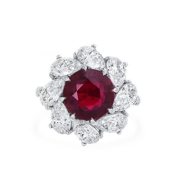 Natural Vivid Red Ruby Ring, 4.01 Ct. (8.32 Ct. TW), GRS LAB Certified, GRS2017-092509, Unheated