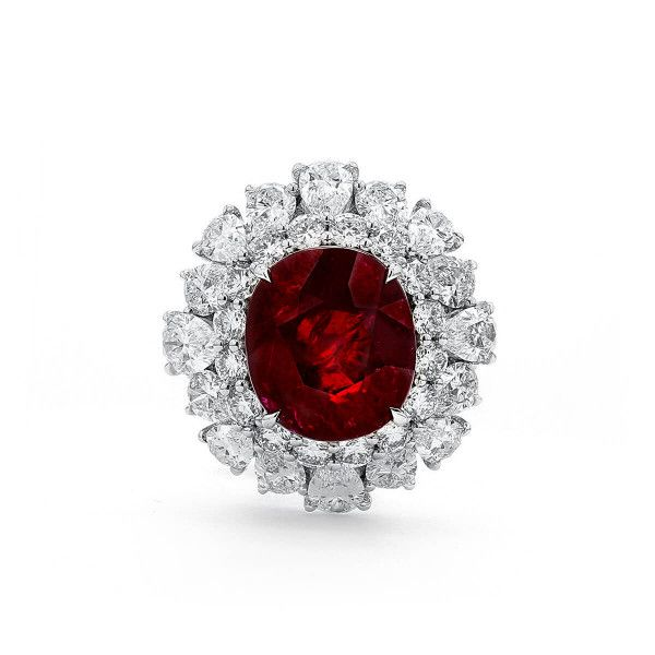 Natural Vivid Deep Red Ruby Ring, 5.44 Carat, GRS Certified, GRS2018-051158, Unheated