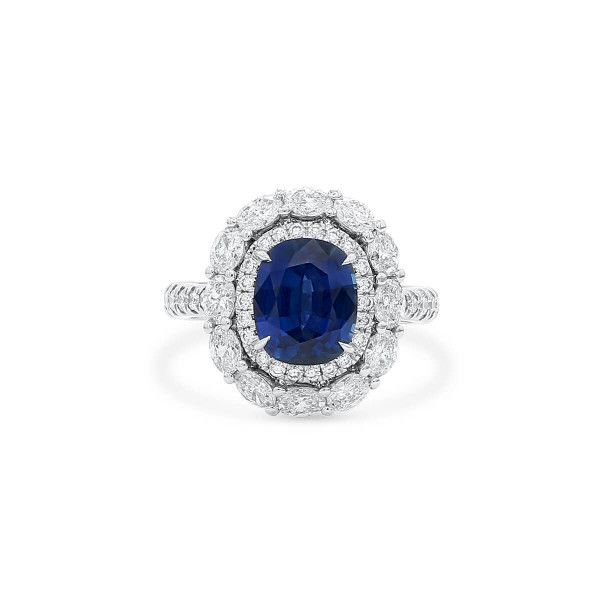Natural Vivid Blue Sapphire Ring, 3.02 Ct. (4.63 Ct. TW), GRS Certified, 2018-078125, Unheated