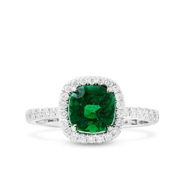 Natural Green Emerald Ring, 1.40 Ct. (2.02 Ct. TW), IGL Certified, J92893767IL, Unheated
