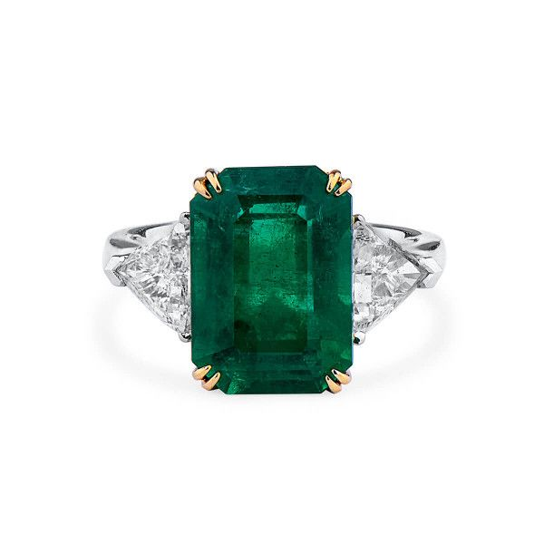 Natural Vivid Green Emerald Ring, 6.17 Ct. (7.31 Ct. TW), GRS Certified, 2018-079154, Unheated