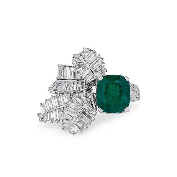 Natural Vivid Green Emerald Ring, 6.02 Ct. (10.05 Ct. TW), GRS Certified, 2017-018137, Unheated