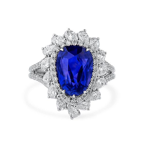Natural Blue Sapphire Ring, 5.01 Ct. (6.40 Ct. TW), GRS Certified, GRS2016-077058, Unheated