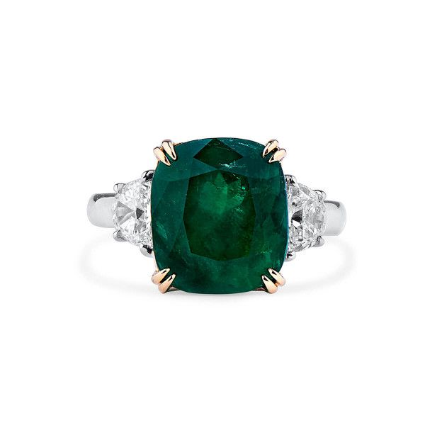 Natural Vivid Green Emerald Ring, 6.02 Ct. (6.60 Ct. TW), GRS Certified, 2017-018137, Unheated