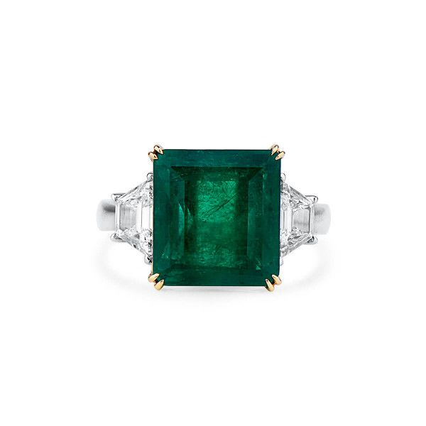 Natural Vivid Green Emerald Ring, 6.06 Ct. (6.76 Ct. TW), GRS Certified, 2019-038220, Unheated