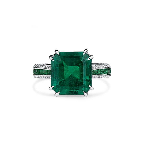 Natural Vivid Green Emerald Ring, 6.11 Ct. (7.64 Ct. TW), GRS Certified, 2018-108355, Unheated