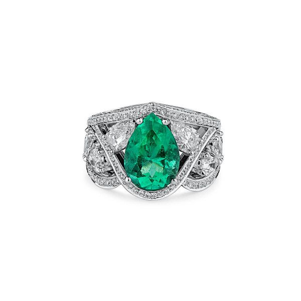 Natural Green Emerald Ring, 2.82 Ct. (5.31 Ct. TW), GRS Certified, GRS2019-068058, Unheated