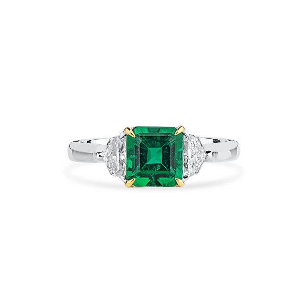 Natural Vivid Green Emerald Ring, 1.33 Ct. (1.80 Ct. TW), GRS Certified, GRS2019-038218, Unheated