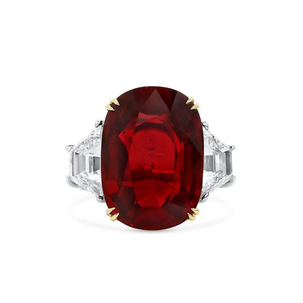 Natural Red Ruby Ring, 13.03 Ct. (15.23 Ct. TW), GRS Certified, GRS2019-068553, Unheated
