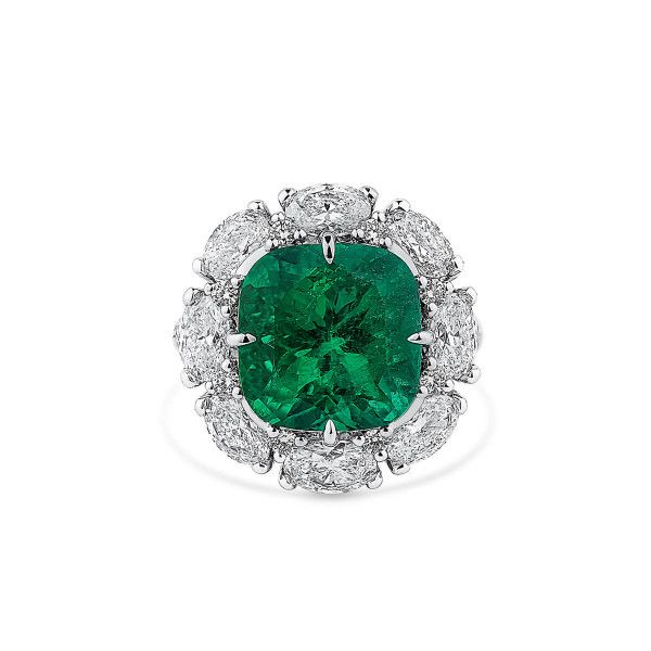 Natural Vivid Green Emerald Ring, 7.37 Ct. (10.65 Ct. TW), GRS Certified, GRS2019-069268