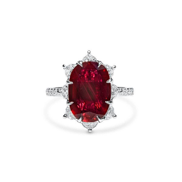 Natural Red Mozambique Ruby Ring, 5.00 Ct. (6.20 Ct. TW), GRS Certified, 2019-118406, Unheated
