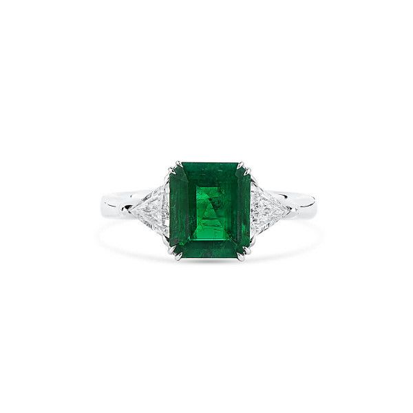 Natural Vivid Green Colombia Emerald Ring, 1.83 Ct. (2.42 Ct. TW), GRS Certified, GRS2020-028219