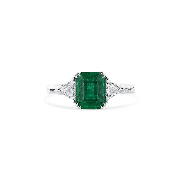 Natural Vivid Green Emerald Ring, 2.14 Ct. (2.53 Ct. TW), GRS Certified, GRS2020-028218