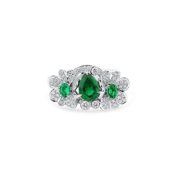 Natural Vivid Green Emerald Ring, 1.18 Ct. (2.23 Ct. TW), GRS Certified, GRS2020-028212