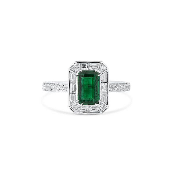 Natural Vivid Green Emerald Ring, 1.10 Ct. (1.95 Ct. TW), GRS Certified, GRS2020-028209