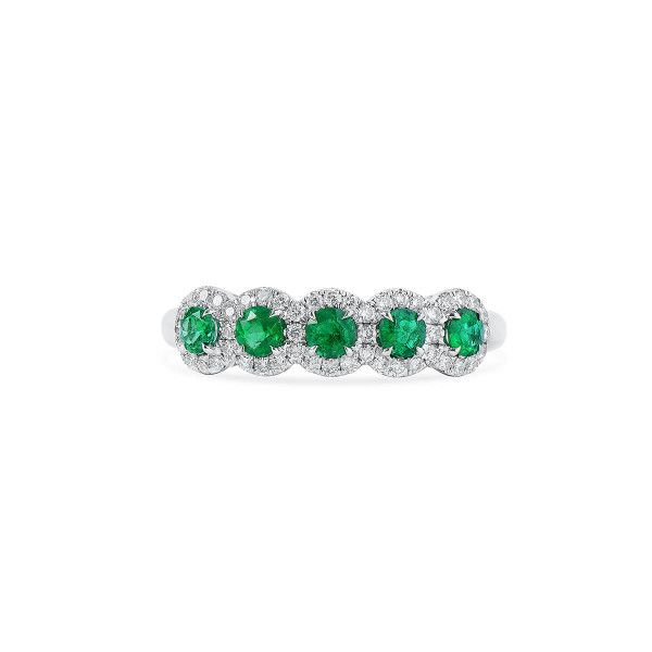 Natural Green Emerald Ring, 0.45 Ct. (0.71 Ct. TW)