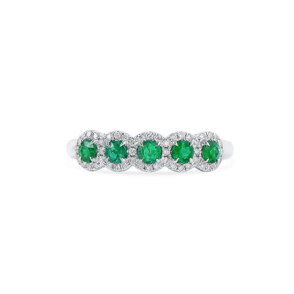 Natural Green Emerald Ring, 0.37 Ct. (0.55 Ct. TW)