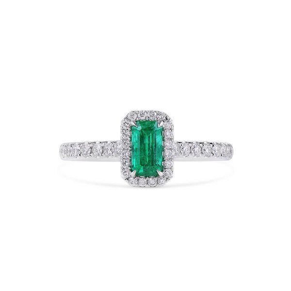 Natural Green Emerald Ring, 0.54 Ct. (0.89 Ct. TW)