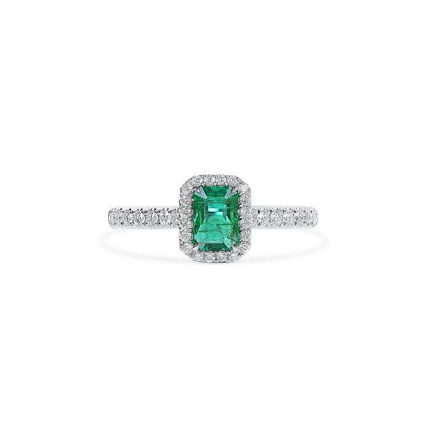 Natural Vivid Green Emerald Ring, 0.52 Ct. (0.87 Ct. TW), GRC Certified, G2007170042