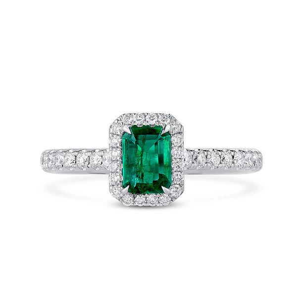 Natural Vivid Green Emerald Ring, 0.39 Ct. (0.73 Ct. TW), GRC Certified, G2007170043