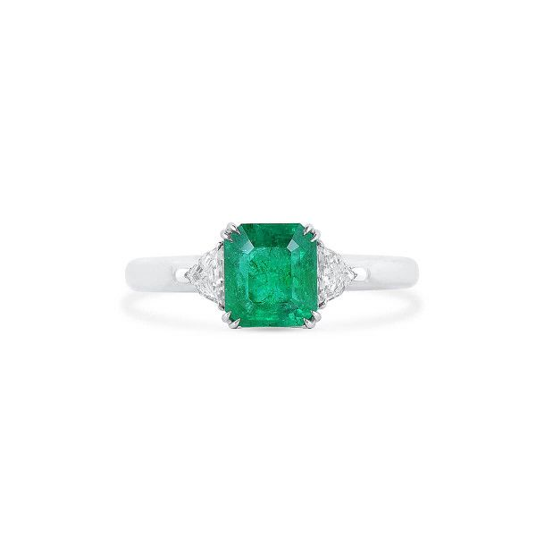 Natural Green Emerald Ring, 1.53 Ct. (1.79 Ct. TW)