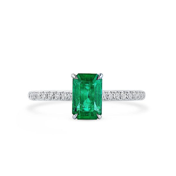 Natural Vivid Green Emerald Ring, 1.10 Ct. (1.29 Ct. TW), GRC Certified, G2007170036