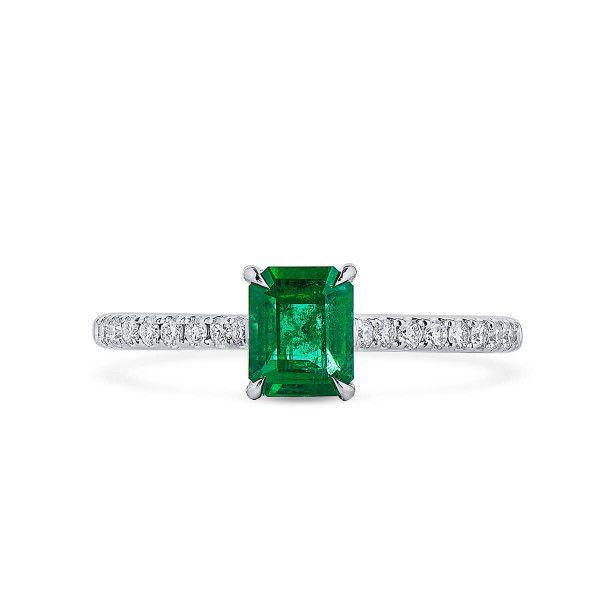 Natural Vivid Green Emerald Ring, 0.67 Ct. (0.86 Ct. TW), GRC Certified, G2007170035