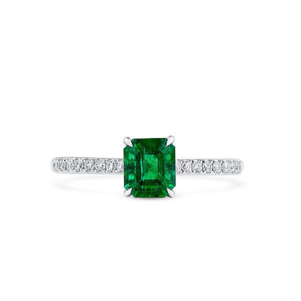 Natural Vivid Green Emerald Ring, 0.93 Ct. (1.12 Ct. TW), GRC Certified, G2007170032