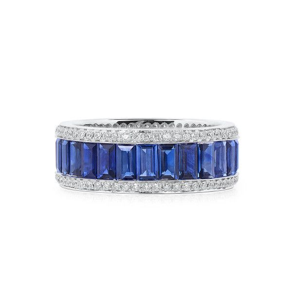 Natural Blue Sapphire Ring, 4.80 Ct. (5.25 Ct. TW), MA Certified, GA565831, Unheated