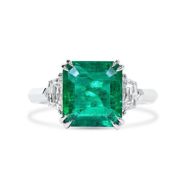 Natural Vivid Green Emerald Ring, 3.81 Ct. (4.49 Ct. TW), GRS Certified, GRS2020-038648
